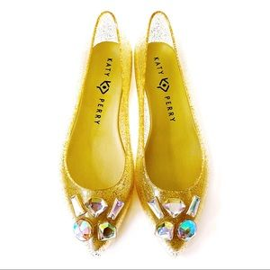 Katy Perry The Princess Gold Glitter Jelly Flats